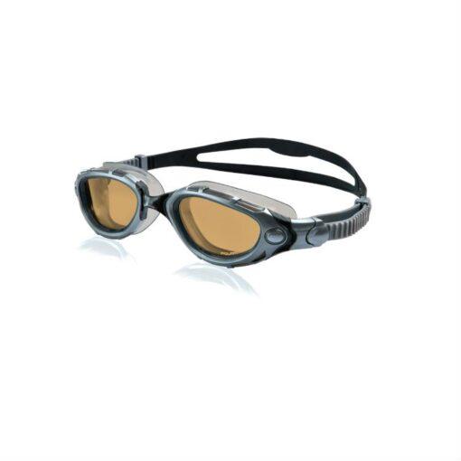 Zoggs Predator Flex Polarized Silver Black Bronze Swimming Goggles