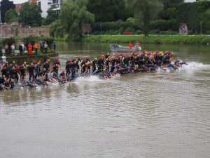 Triathletes Swimming
